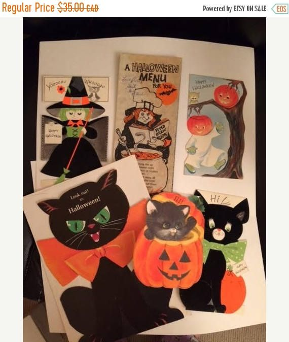 On Sale Vintage Lot of 1950 60s Halloween Cards Cats Menu