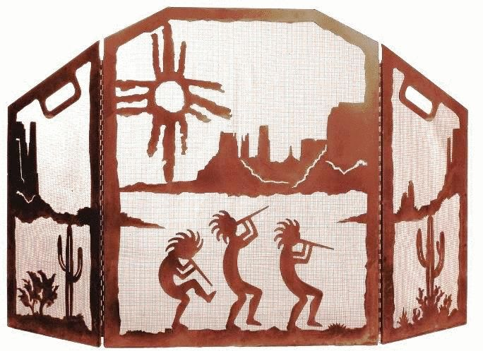 Kokopelli Desert Scenic Southwest Fireplace Screen made of heavy recycled steel by ironwood industries american made southwestern fire screen