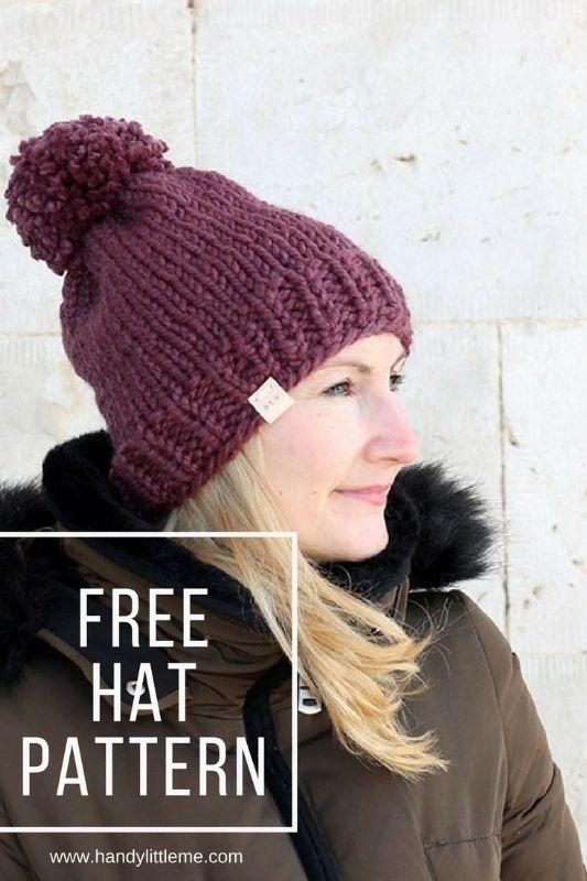 b81362ef30d88 Free chunky hat knitting pattern for women