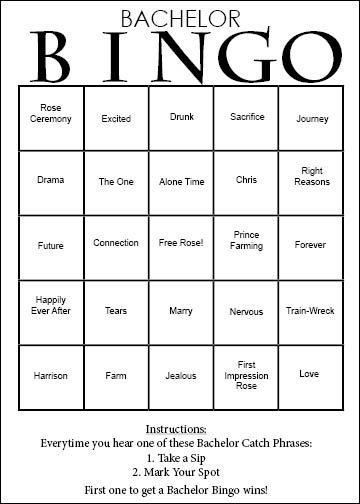 """Bachelor Bingo game for Chris' """"Prince Farming"""" season!"""
