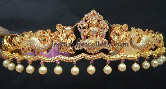 Jewellery Designs: 1 Gram Gold Peacock Vaddanam