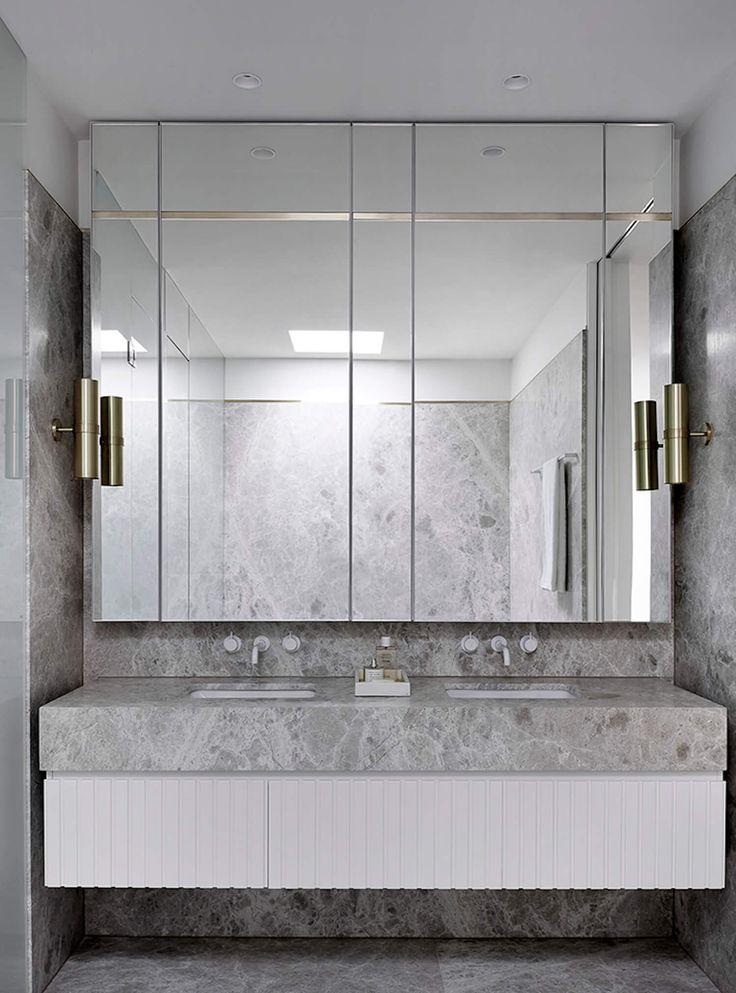 grey marble bathroom, white taps, by Mim Design