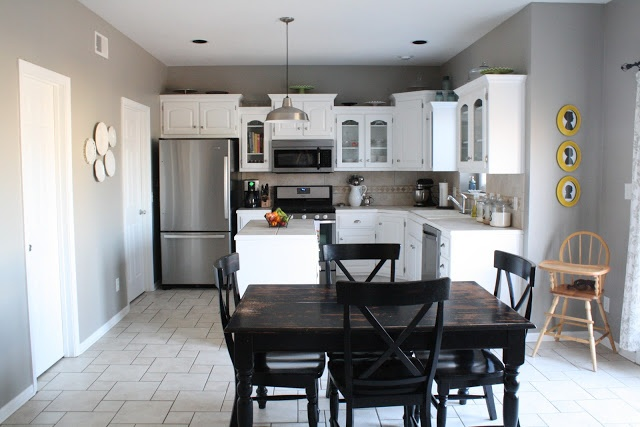 before/after kitchen..this is exactly what i want to do. gray
