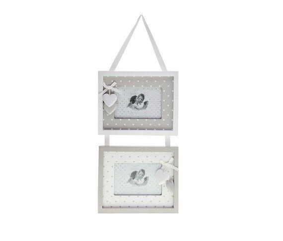20,37 € - Set 2 portafoto in legno quadrati con cuoricini, stile Shabby Chic, simpatica idea per bomboniera matrimonio, dimensioni cm. 45x20x2.