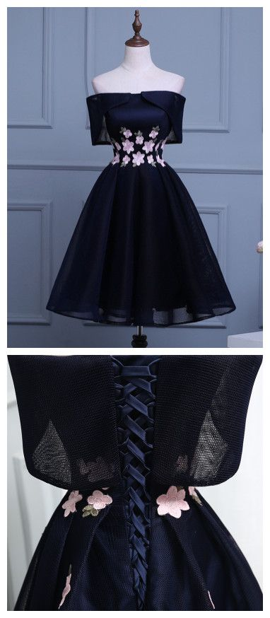 2017 CHIC HOMECOMING DRESS CHEAP SIMPLE A-LINE OFF-THE-SHOULDER DARK NAVY TULLE SHORT PROM DRESS SKA106