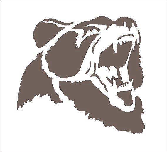 Grizzly Bear Stencil 5.5x6.5 Lodge Western by SuperiorStencils, $8.50