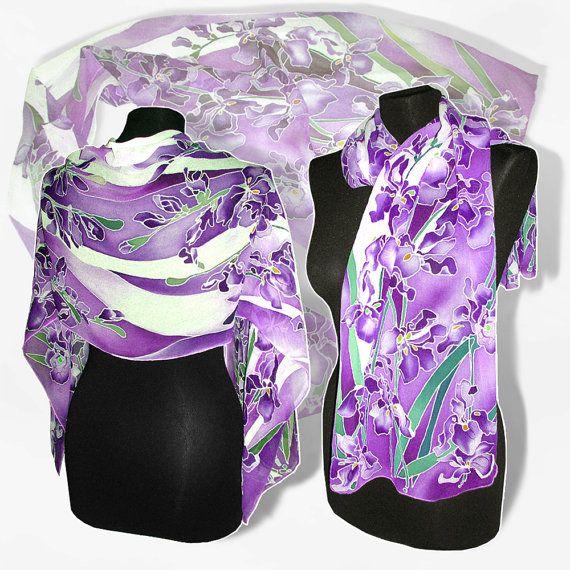 Sciarpa di seta a mano viola Iris verniciato lunga di MinkuLUL