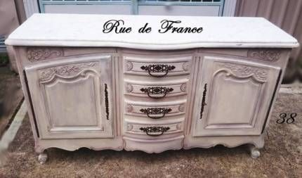 FRENCH PROVINCIAL PAINTED FINISH MARBLE BUFFET - SIDEBOARD