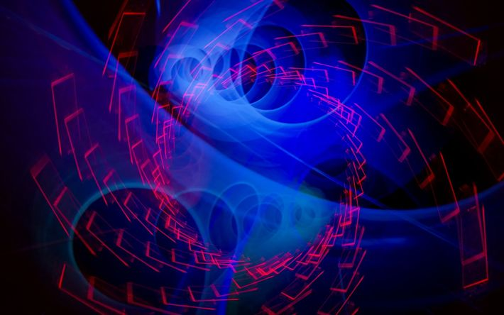 Download wallpapers neon light, Abstract Blue Swirl, dark background, Vortex