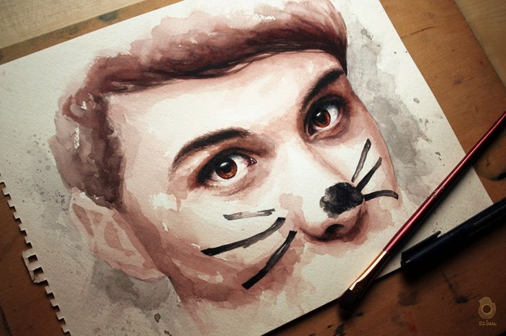 "Dan and the cat whiskers - ""It's time..."" ~ danisnotonfire - watercolour painting by szluu.tumblr.com"
