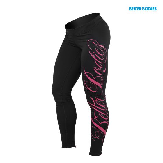 Womens logo tights, Black / Pink