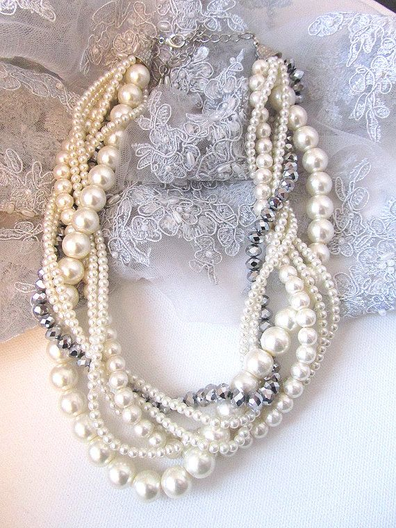 Wedding jewelry OOAK twisted  braided pearl by BijouxandCouture, $66.50- Would this work with my dress??