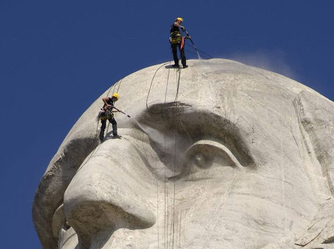 German cleaning equipment manufacturer, Karcher, volunteered its time and resources to clean Mt. Rushmore free of charge.