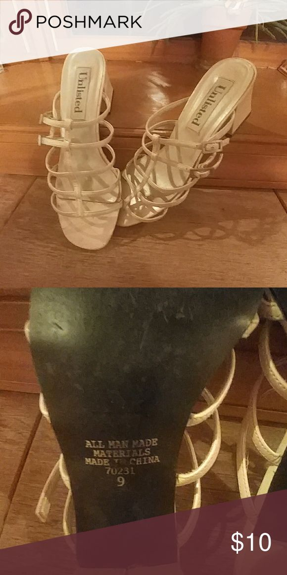 Size 9 Unlisted Cream sandal Used condition but still have a lot of life on them Shoes Sandals