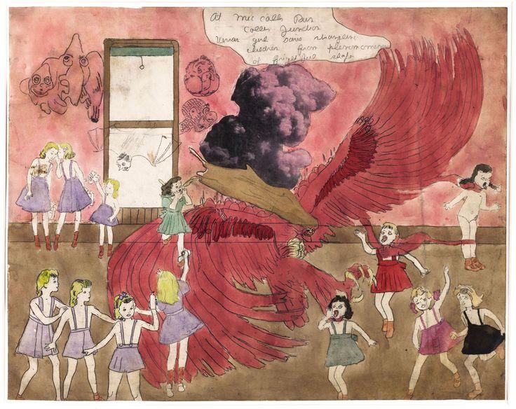 "Henry Darger (1982-1973). "" At McCalls Run Coller Junction Vivian girl saves strangling children from phenomenon of frightful shape"". Crayon, encre, aquarelle et collage sur papier, 1910-1970. Paris, musée d'Art moderne."