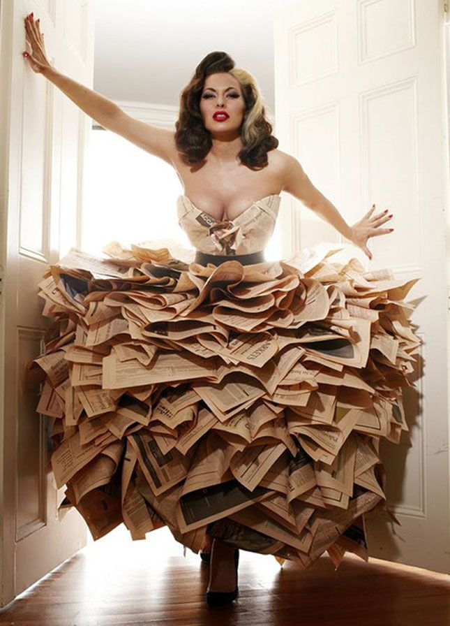 Made from newspapers, this gown is via Society Cottontail - http://societycottontail.tumblr.com/post/1401253030