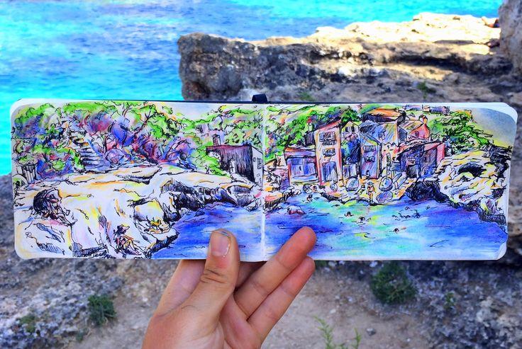 Artsy Adventuress Travel Notebook by Natalie Paulina! #illustration or #drawing in #calaalsmunia #mallorca ! Using #fabercastell #watercolor or #aquarella #coloredpencils on a #moleskin #notebook #sketchbook! Love this #ocean and #beach in the #mediterranean too much! Gotta get out and #travel! And bring along the #travelnotebook! #artsyadventuress #art #artsy #pen #painting #mixedmedia #beautiful See it all at artsyadventuress.com !