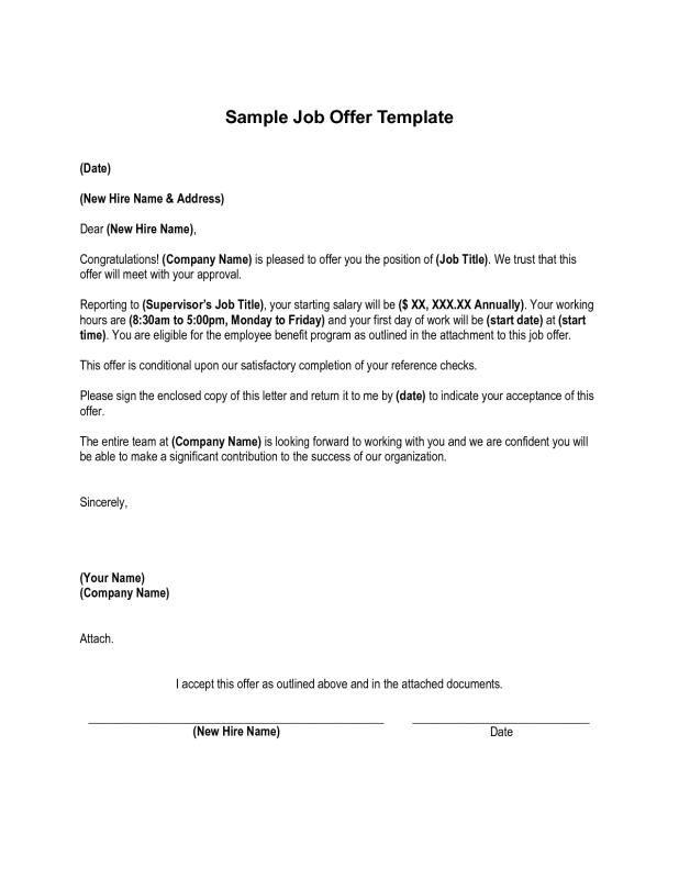 Sample Employment Offer Letter Job Offer Letter Templates Business Letter Template