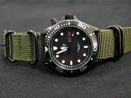 Orient Ray Raven + Olive Drab ZULU Strap with PVD Hardware