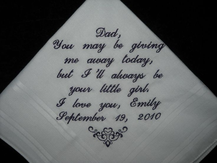 Wedding hankie Handkerchief to Dad from Bride. Because I know my dad will cry...