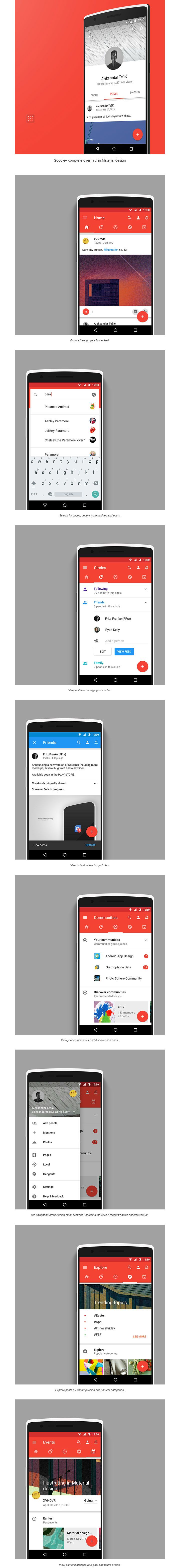 Google+ complete material redesign