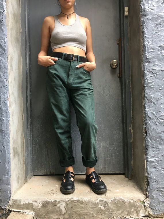 Awesome and very rare real leather / suede high wasted pants in forest green! Size 30 In PERFECT condition, looks BARELY WORN (if at all!!)
