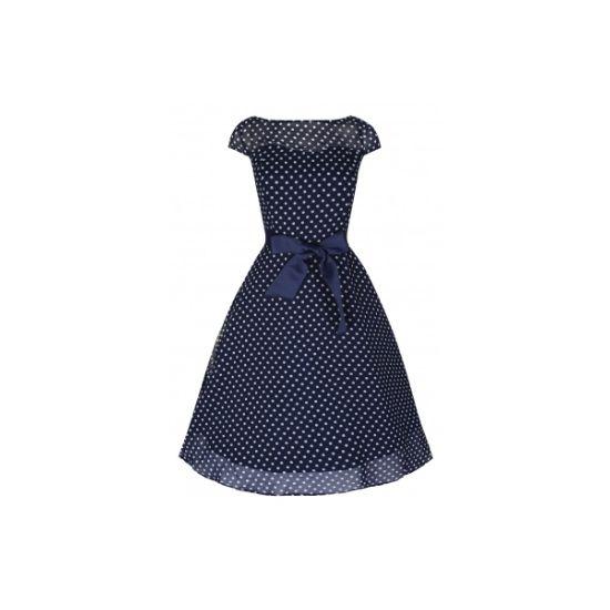 Retro šaty Lindy Bop Delphine Navy Polka Šaty ve stylu 50. let. Nádherné šaty v tmavě modré barvě s drobným bílým puntíkem. Vhodné pro letní období zahradních slavností, svateb, večírků. Tvořené ze dvou vrstev - spodní brokátová lehce vyztužená do živůtku, vrchní lehká tylová s rukávkem.