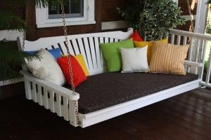 Outdoor 6′ Fanback Swing Bed – Oversized Porch Swing – PAINTED- Amish Made USA -White – $771.00