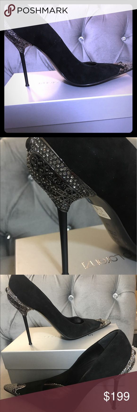 PRICE DROP!! Swarovski embellished suede shoes Beautiful Italian Swarovski and suede shoes! Made by renowned designed Gianmarco Lorenzi! New, never been worn with original box gianmarco lorenzi Shoes Heels