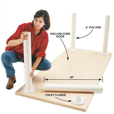 """30""""h LIGHT DUTY WORK TABLE.  Hollow core door, toilet flanges glued and screwed, 10' length of 3"""" PVC pipe."""