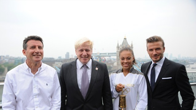 Olympic Chairman Sebastian Coe, London Mayor Boris Johnson, with Amber Charles and David Beckham