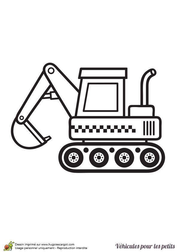 Dessin de profil d'un petit tracteur à colorier #colorier