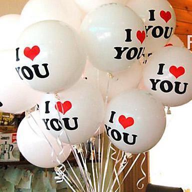 """Balon latex sablon tulisan I Love You warna putih  1 pack isi 5 pcs balon, Harga Rp 10.000/pack  ukuran 11""""  *Untuk membuat balon terbang, isi dengan GAS HELIUM / KARBIT (dari abang-abang pinggir jalan), POMPA TANGAN TIDAK BISA membuat balon terbang.  untuk balon foil huruf dan angka bisa click /p/hobi/mainan/lain-lain-345/14x156-jual-balon-foil-gold-silver-huruf-angka-gold-silver-balon-foil-hati-love  untuk love dan bintang bisa click…"""