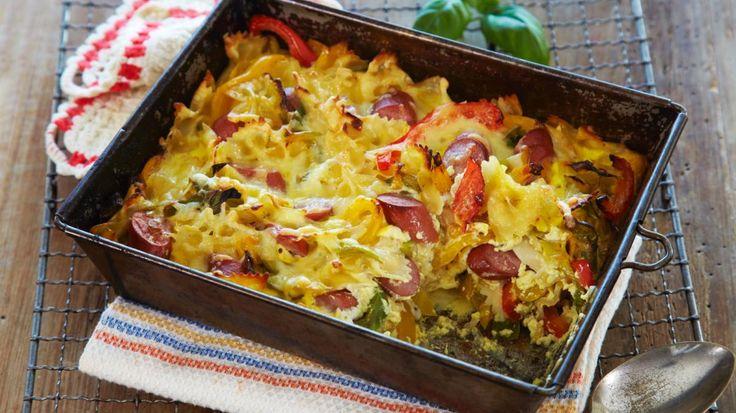 Oppskrift på pasta og pølseform, med paprika og purre: