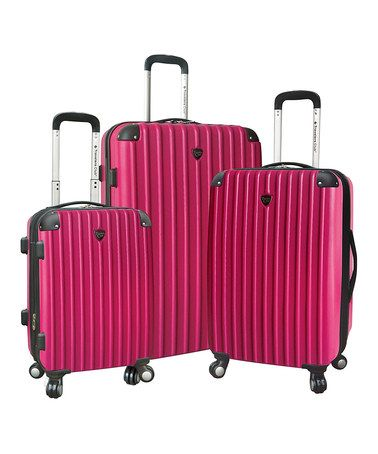 This Pink Expandable Wheeled Hardside Luggage Set by Travelers Club Luggage is perfect! #zulilyfinds
