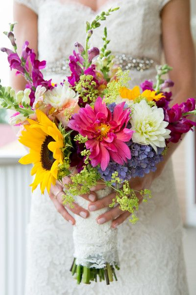 Wildflower #wedding #bouquet of sunflowers, dahlias, roses, and craspedia balls. {Paired Images}