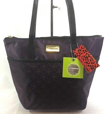 Simon Chang Lunch Bag Insulated Box Handbag Tote For Woman Purple  / Gold   NWT