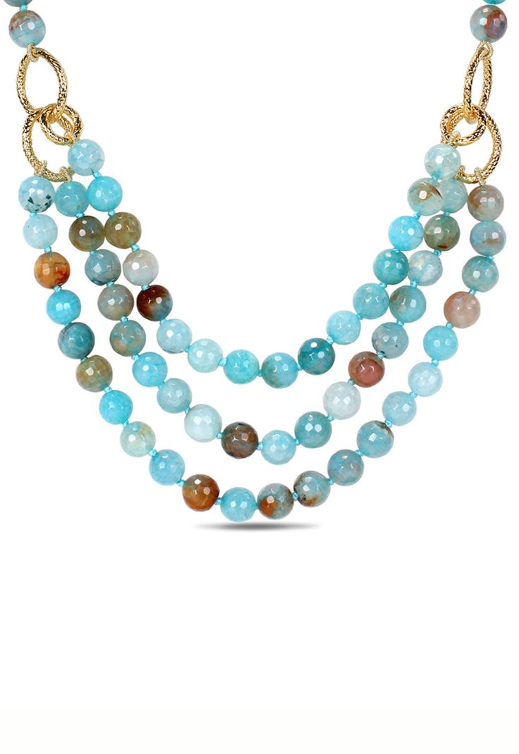 Aqua Blue Agate & Gemstone Three Strand Necklace
