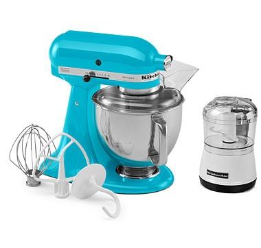 KitchenAid Artisan Stand Mixer with Bonus Mini Chopper & $50 Mail-In Rebate - CRYSTAL BLUE #ilovetoshop