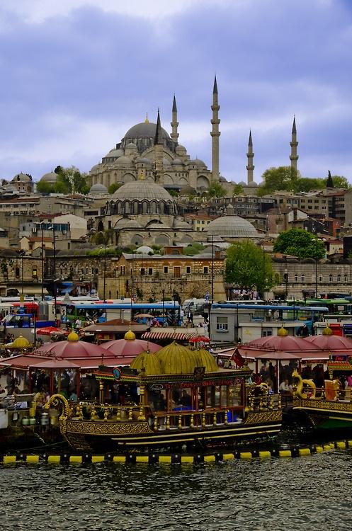 shot of Istanbul, Turkey from Galata Bridge