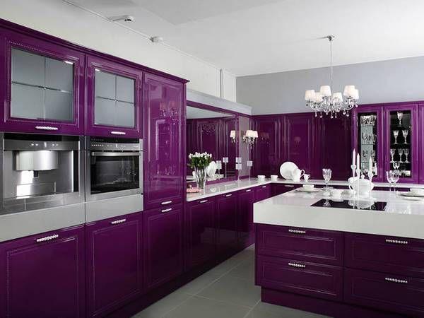 Purple Kitchen Cabinets dark kitchen cabinets ideas purple cabinets white countertops