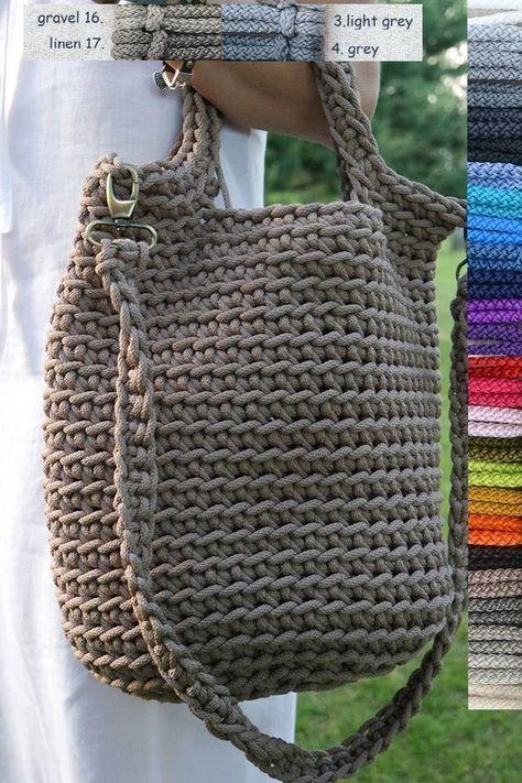 Rope bag / Unique design Bag from rope / Handmade crochet bag / market bag…