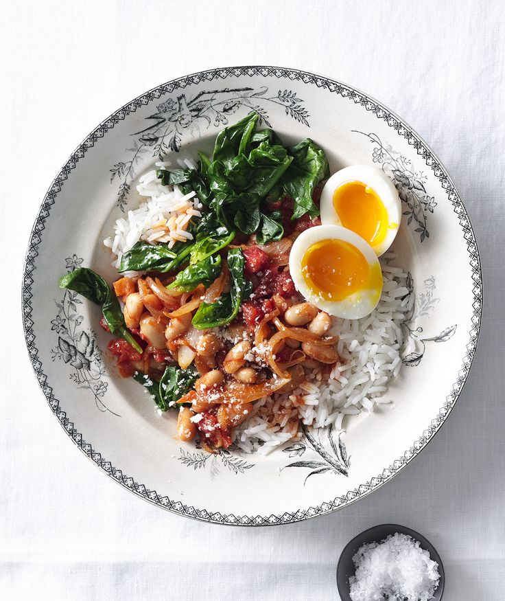 This quick-cooking vegetarian dinner is packed with protein and nutrients, thanks to cannellini beans, soft-boiled eggs, and fresh baby spinach.