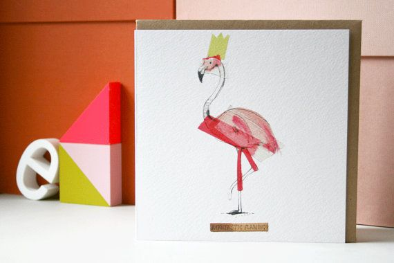 Fantastic Flamingo Card by lizkingillustration on Etsy
