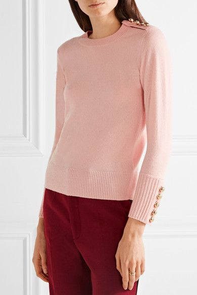 Burberry - Button-detailed Cashmere Sweater - Pastel pink - medium