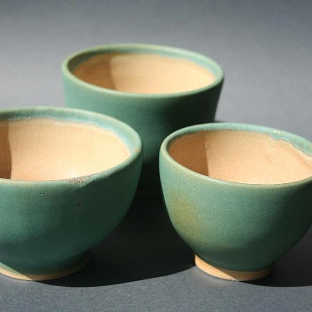 Three tea bowls, stoneware, green matt glaze, fired to cone 6. #pottery #handmade #cone #6 #stoneware #wheel #thrown #ceramics #turquoise #tea #bowl #esmalte #cerámica #Rubi #Birden