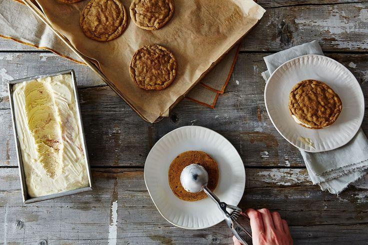 Rhubarb Semifreddo Ice Cream Sandwiches, a recipe on Food52