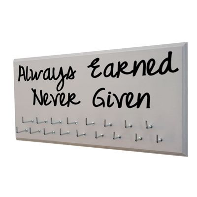 Always Earned Never Given - Medal Hanger. Available in 20 different color. White and black just goes with EVERYTHING! $24.99 is a small investment to display my medals in style!