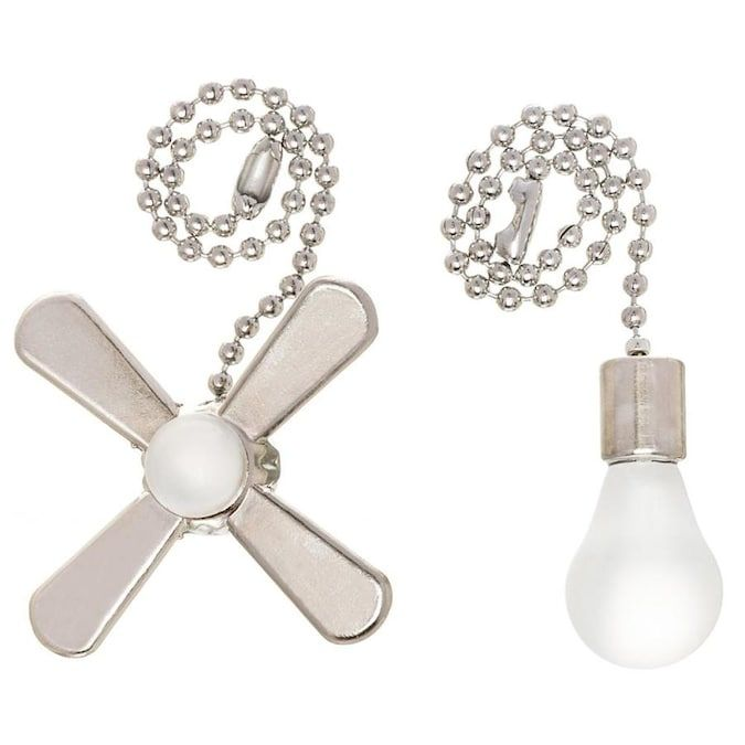 Harbor Breeze 7 In Brushed Nickel And White Metal Pull Chain Lowes Com In 2020 Pull Chain White Metal Fan Pull Chain
