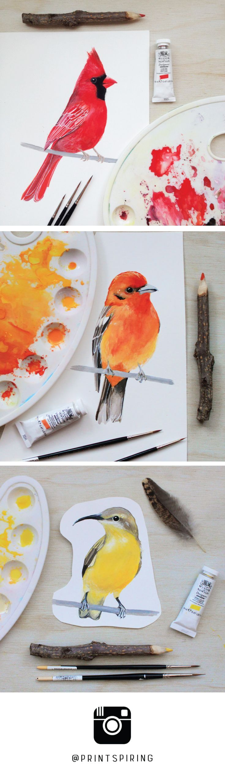 Watercolor & Gouache Bird Paintings by PRINTSPIRING | Red Cardinal, Flame-coloured Tanager, Yellow Bellied Sunbird | Work in progress | Sketchbook Art | Painting a day | Creative space, studio table